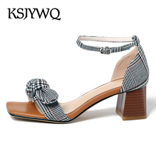 83634d13799 KSJYWQ Open-toe Leather Women Sandals 5.5 CM Chunky Heels Summer Style  Dress Shoes Sexy
