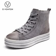 Genuine leather boots women platform shoes Q.VONTON brand ankle boots ladies casual leather shoes footwear female
