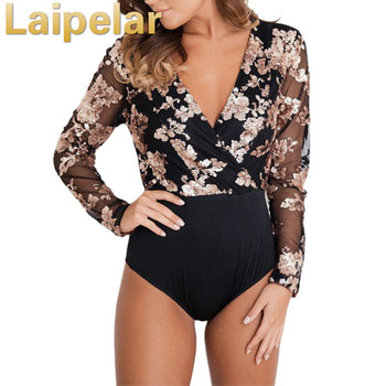 women long sleeve bodysuit stretch leotard bodycon jumpsuit romper sexy dot bodysuits top blouse chiffon solid bodysuits elegant Laipelar Women Sexy Bodysuit Back Mesh Bodysuits Long Sleeve V Neck Mesh Black Bodycon Bodysuit Elegant Jumpsuit Body Feminino