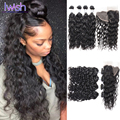 8a Brazilian Water Wave With Frontal Brazilian Water Wave Ear To Ear Lace Closure Wet And Wavy Human Hair Bundles With Frontal