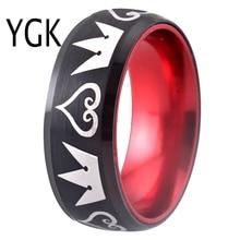 Męska klasyczny czarny z wolframem czerwony Aluminium pierścień kobiet Engagement Wedding Band biżuteria męska Kingdom Hearts biżuteria prezent anillos