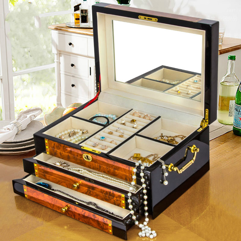 Boîte à bijoux Collection boîte de haute qualité princesse bois Piano-peinture avec serrure maquillage organisateur tiroir de rangement organisateur boîte à bijoux