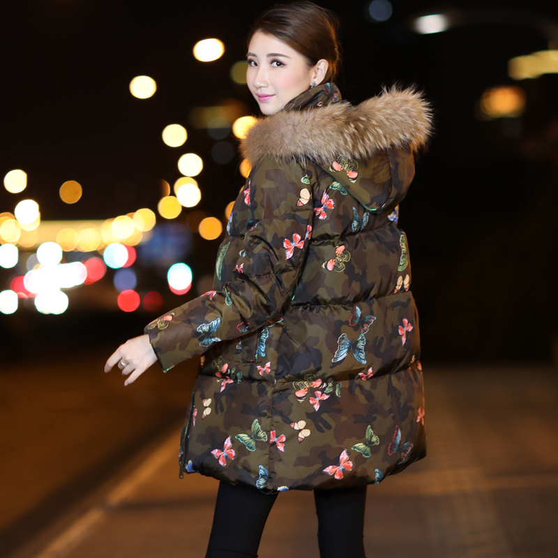 2017 new hot winter Thicker Keep warm woman Down jacket Coat Parkas Hooded Raccoon Fur collar Camouflage printing long plus size