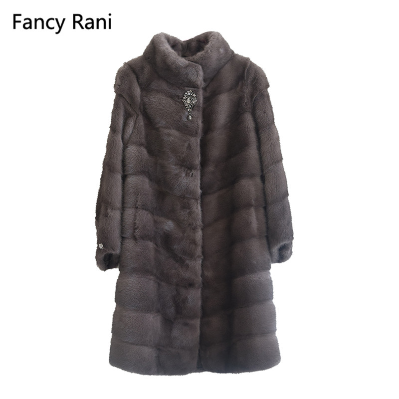 Vison Vestes Pelt Mandarin Style Marron Manteau Col De Naturelle Fourrure Véritable Mode Dames Russie Manteaux Pleine 35qRA4jL