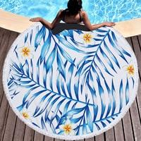 Printed Tropical Leaves Flower Round Beach Towel Geometry Toalla Microfibra Mandala Beach Towel Serviette De Plage Ronde
