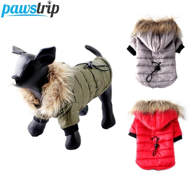 Pawstrip XS XL ciepłe małe ubrania dla psa zimowy płaszcz dla psa kurtka stroje dla szczeniąt dla Chihuahua Yorkie pies zimowe ubrania ubrania dla zwierząt