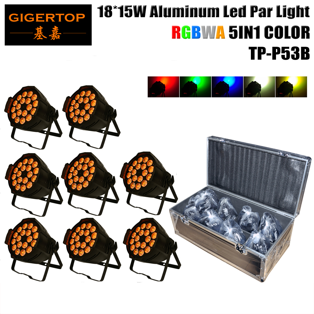Alibaba Stage Light 8IN1 Flightcase Pack RGBWA 5IN1 Led Par Cans TP-P70C High Quality Waterproof IP20 DMX512 18 X15W Tyanshine