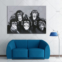 Beste Handgeschilderd Moderne Abstracte Cartoon Animal Olieverfschilderij gelukkig gorilla familie Muur Art Voor Woonkamer Interieur(China)