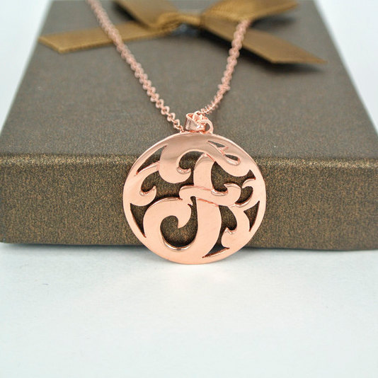 Rose Gold 1 Initial Monogram Necklace 1 inch Letter Handmade Circle Monogrammed Pendent Custom Jewelry collier en argent