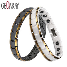 Magnetic Health Energy Ceramic Bracelet for man and women Black White Gold-color Link Chain Valentine