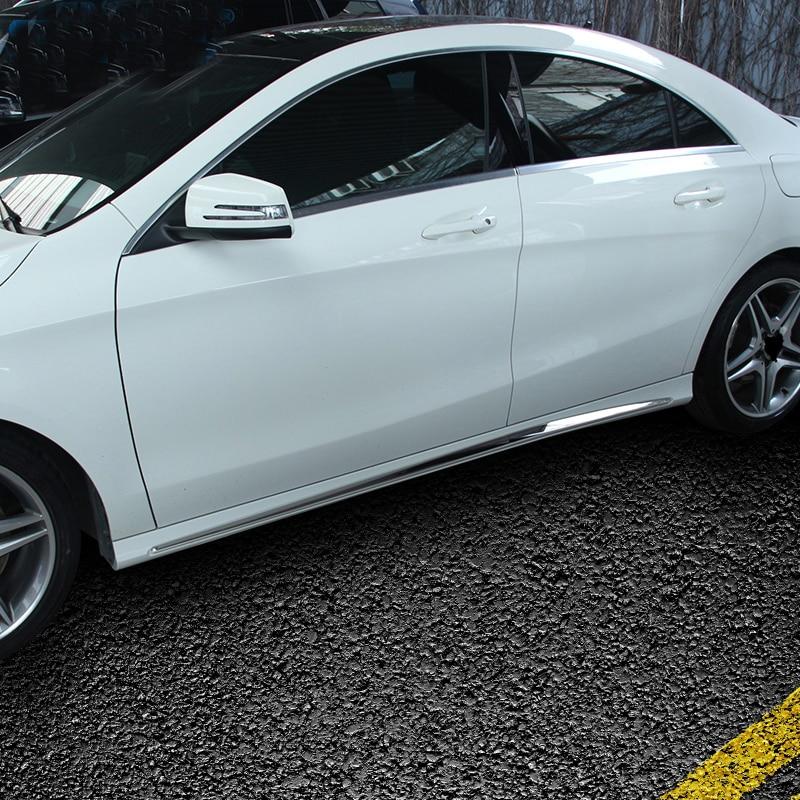 Pour mercedes-benz W205 voiture autocollants porte en acier inoxydable brillant bande C-CLASS W205 côté jupe accessoires décoratifs - 2