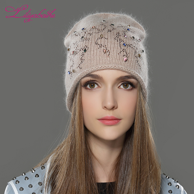Liliyabaihe feminino outono e inverno chapéu angora malha skullies gorros boné clássico cor diamante decoração chapéus para meninas