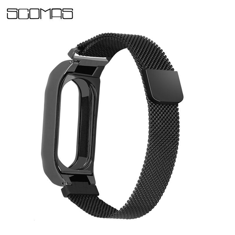 SCOMAS Stainless Steel Straps for Xiaomi Mi Band2 Magnet Stainless Steel Replace Belt Wearable Accessories for Mi Band 2 Watch
