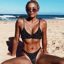 Женский летний купальник Bandaeu, комплект бикини в черный горошек, пуш-ап, бюстгальтер с подкладкой, купальный костюм, купальник, Лот