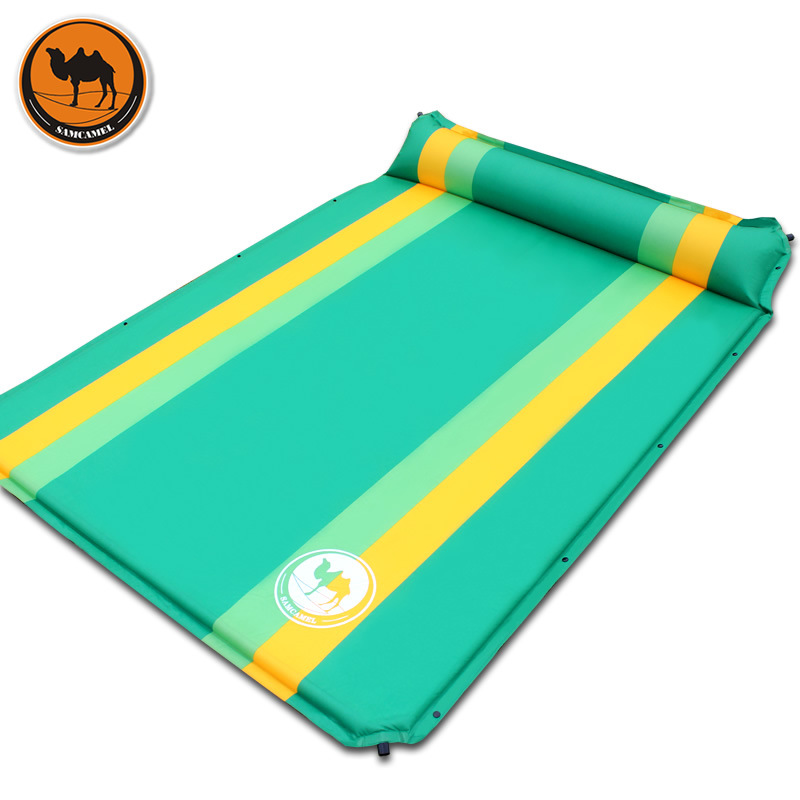 High quality 033 2 color double automatic inflatable mat outdoor camping mattress