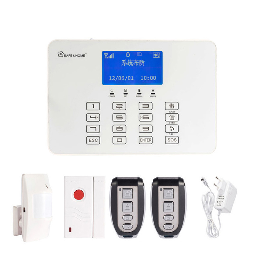 LCD Display GSM Alarm System with Touch Panel Keypad Safe Home 433MHz wireless PIR Motion Sensor Door contact alarm Smoke lcd display 433mhz wireless alarm system sms gsm pstn dual network home security pir motion sensor door open detector smoke