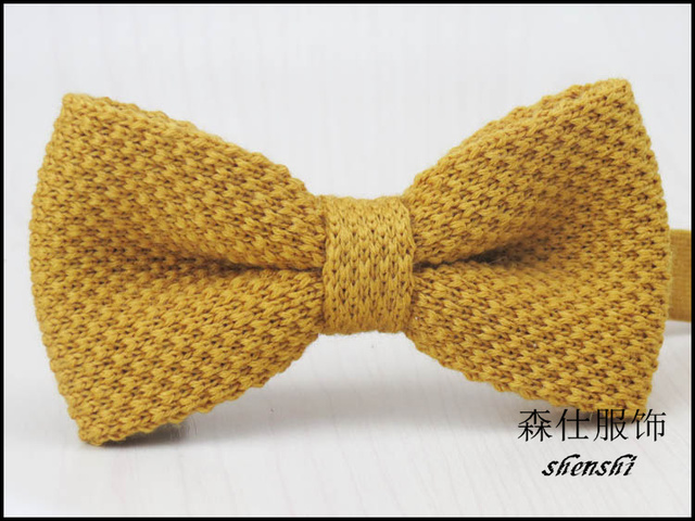 High Quality Knitted Bow Tiepure Yellow Color Design100 Wool