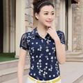 Marca de la Camiseta 2017 Del Verano del Cordón de Las Mujeres de La Manga Camiseta POLO Floral camisa Femenina Delgada Camisetas Tops Camiseta Más El Tamaño XXXL JA2453