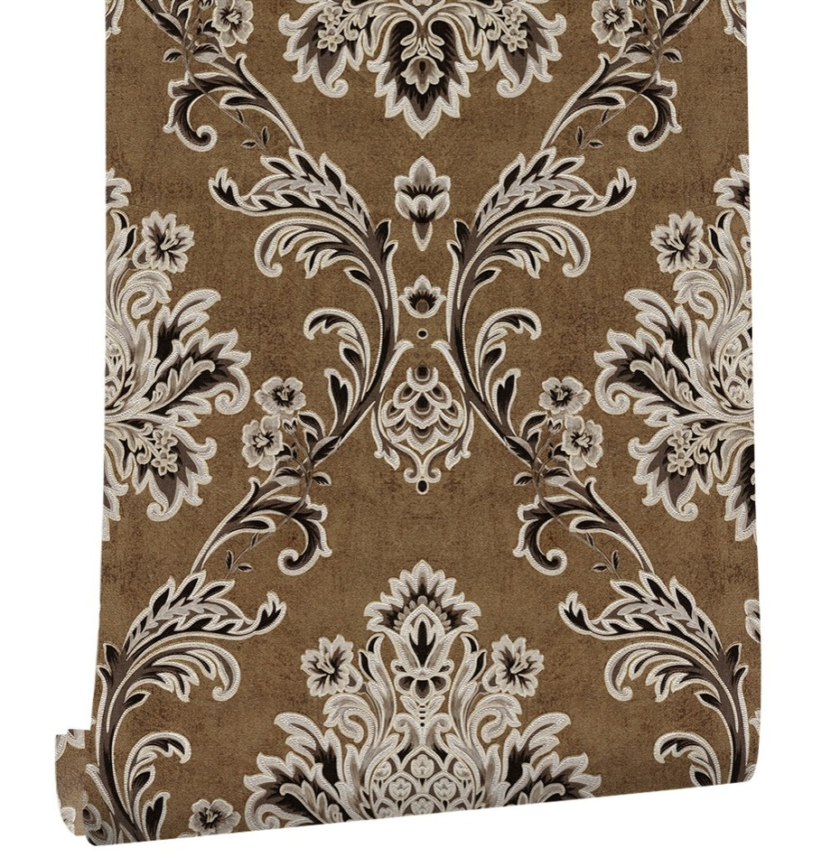 Haokhome European Floral Damask Pvc Wallpaper Roll Off White Black