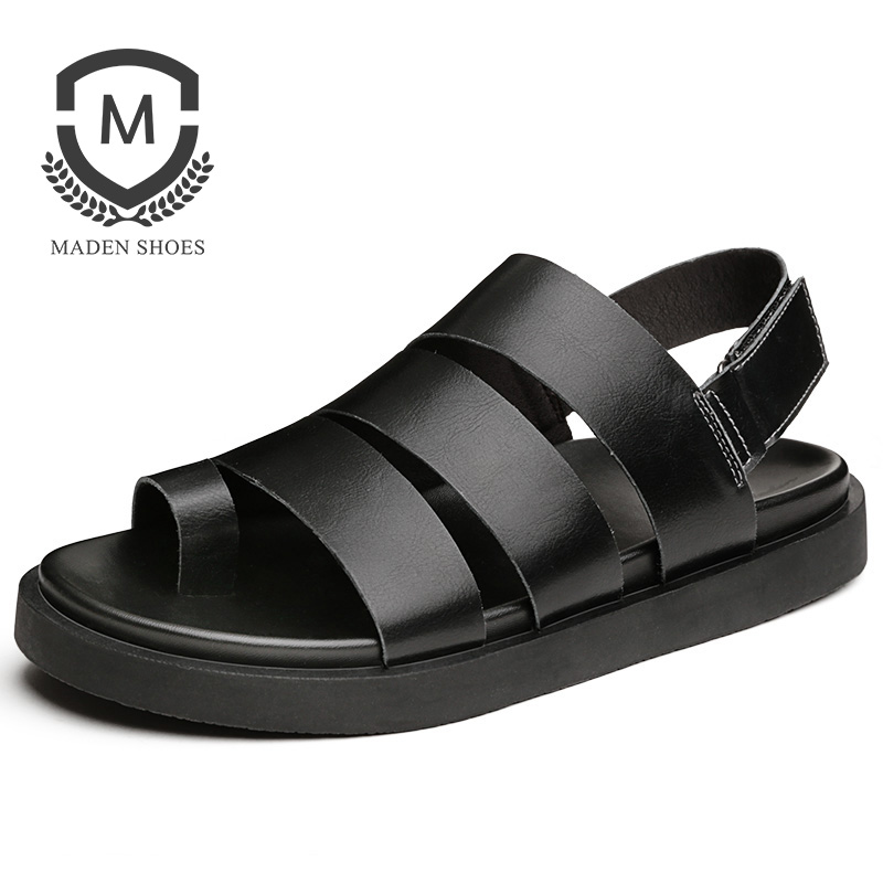 Maden 2018 Summer Mens sandals Handmade Rome Style Breathable Casual Shoes Top Quality Genuine Leather Beach Shoe