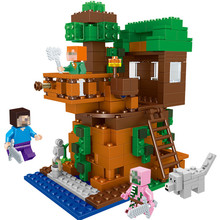 406PCS MY WORLD Tree House Figures Bricks Minecrafteds Village Model Building Blocks Sets Toys for Children qunlong 649pcs my world volcanic detection minecrafted model figures building blocks enlighten diy brick toys for children 0523