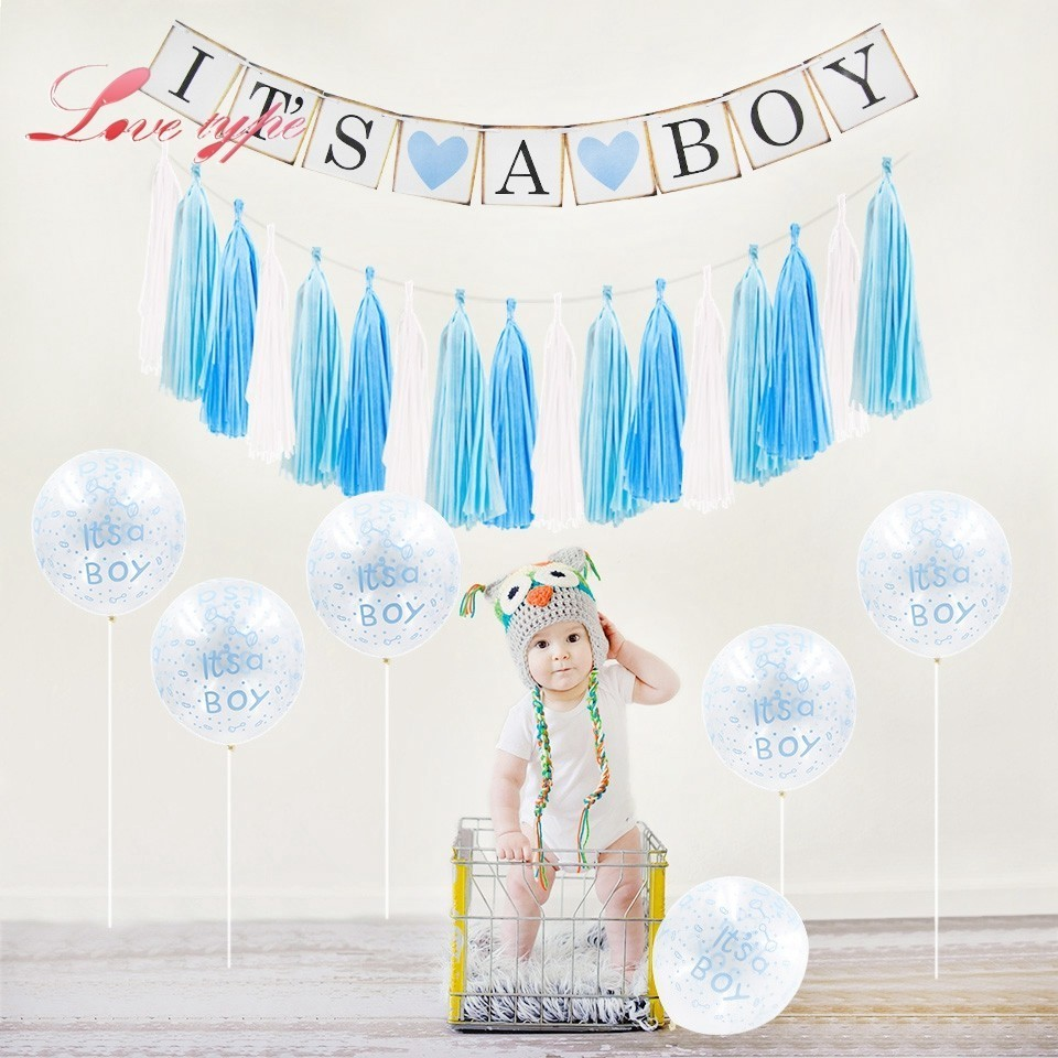 Baby Shower Its A Boy Girl Photo Booth Cake Topper Pompoms Birthday Decoration For Baby First Birthday Party DIY Paper Crafts