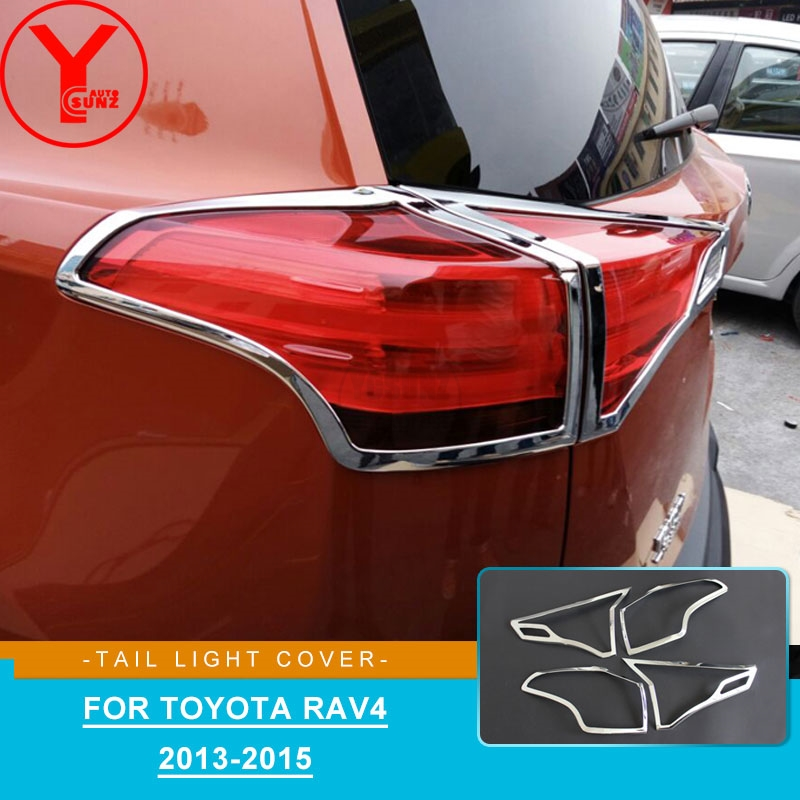2013 2015 ABS chrome tail light cover for toyota rav4 rav 4 2013 2014 parts Lamp Hoods for toyota rav4 2014 accessories YCSUNZ Body Kits    - title=