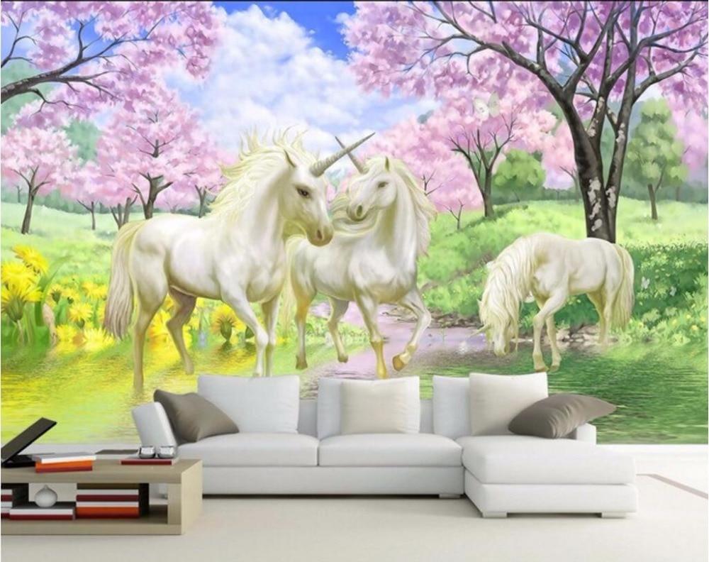 Купить с кэшбэком Custom mural 3d room wallpaper Dream unicorn blossoms home decoration painting picture 3d wall murals wallpaper for wall 3 d