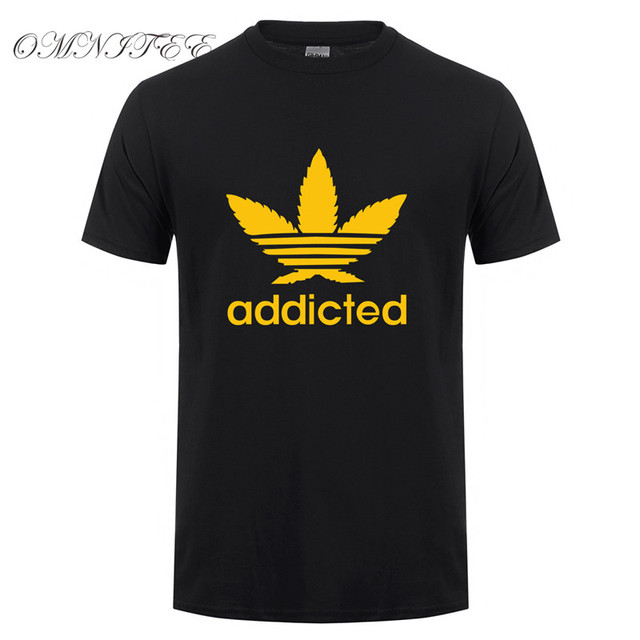 New Addicted White Leaf T Shirt Men Summer Fashion Short Sleeve Cotton Weed Day T Shirts O-neck Funny Mens T-shirt Tops OT-939 5
