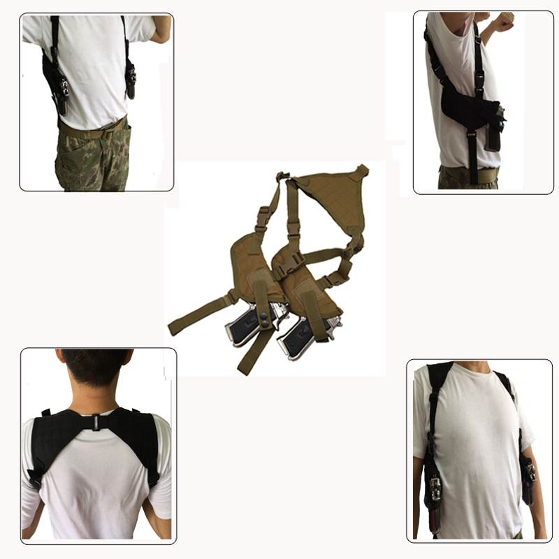 Tactical Military Double Airsoft påse Jakt Combat Justerbar Nylon Gun Shoulder Holster Påse Camouflage Hand Gun Holster