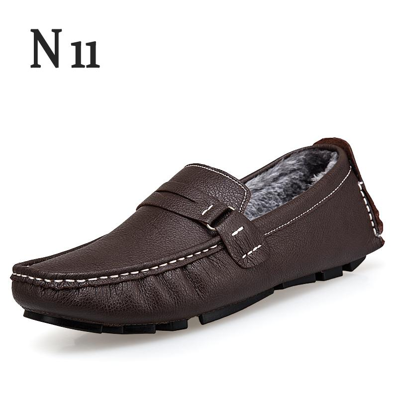 N11 Large Size 37-46 Mens Driving Loafers Leather Slip On Winter Shoes Men Moccasins Casual Luxury Shoes Penny Loafer Men Boots pl us size 38 47 handmade genuine leather mens shoes casual men loafers fashion breathable driving shoes slip on moccasins