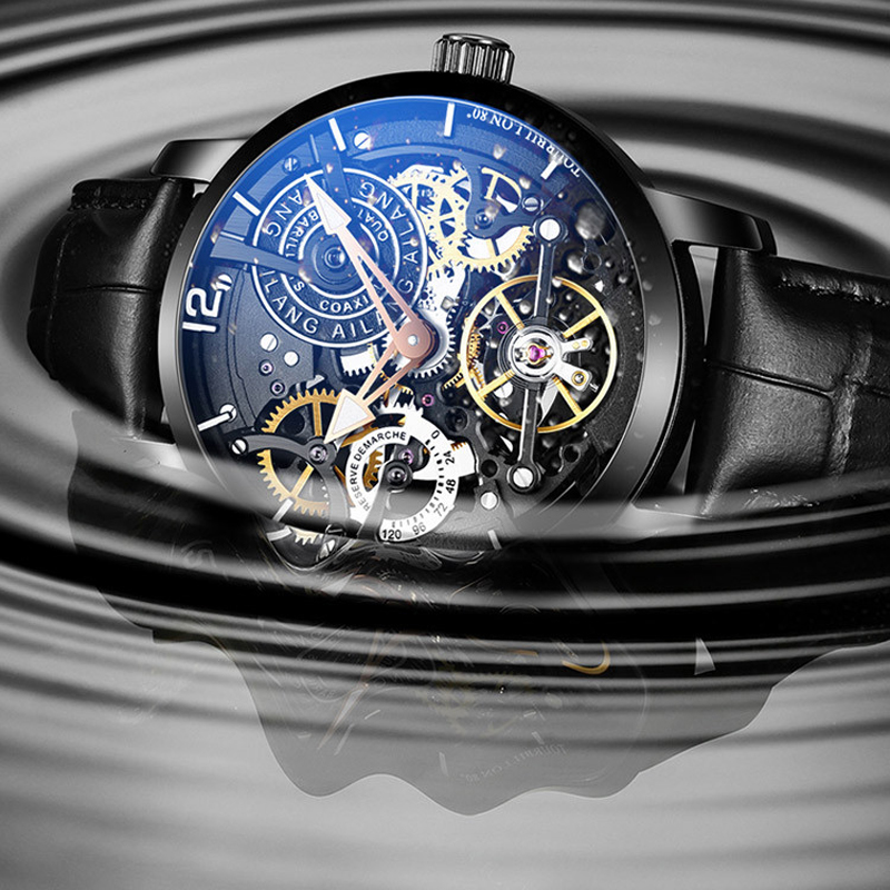 Image 2 - AILANG  Brand Men Automatic Watch Luxury Skeleton Mechanical Watches Men's Black Genuine Leather Clock Relogios Masculino 2019-in Mechanical Watches from Watches