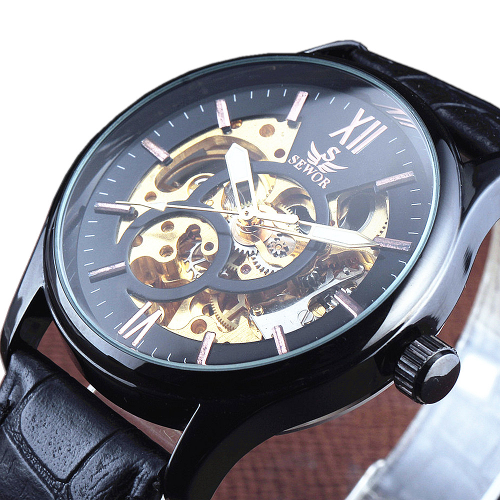 Top SEWOR Leather Strap Skeleton Men Clock Black Steel Male Business Mechanical Automatic Fashion Military Wrist Watch Best top luxury sewor big automatic military watch men gift gold stainless steel diamond skeleton clock mechanical mens wrist watches