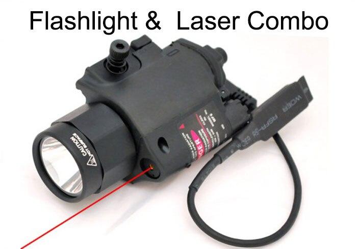 2 in 1 Hunting Gun Tactical LED Weapon Light Flashlight Torch 200 Lumen Red Laser Sight Combo for Pistol Gun 8-0001R