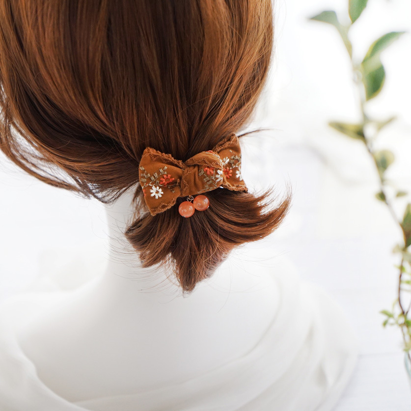National Style Embroidered Bow Elastic Hair Bands Elegant Hair Accessories For Girls Rubber Band Gum For Hair Tie For Women in Women 39 s Hair Accessories from Apparel Accessories