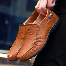 New 2019 Casual Men Shoes Slip On Loafers Spring and Autumn Mens Moccasins Genuine Leather Men's Flats Shoes Big Size 35-47 dekesen men genuine leather shoes business dress moccasins flats slip on loafers new men casual shoes mens business shoes 37 47