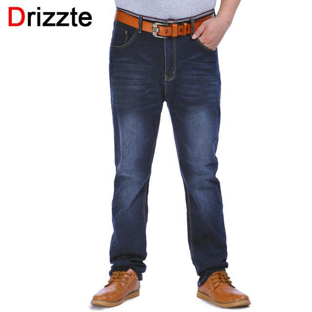 Drizzte mens alta cintura elástico más el tamaño 38 40 42 44 46 48 Pantalones Vaqueros del Dril de algodón Jean Relajarse de Negocios Grandes y Altos Pantalones de Trabajo Pantalones