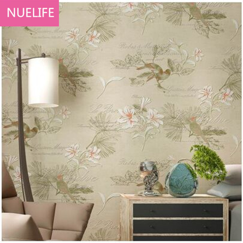 0.53x10m  hand - painted flowers and birds pattern non - woven wallpaper  living room bedroom study room background wallpaper the hermitage birds and flowers