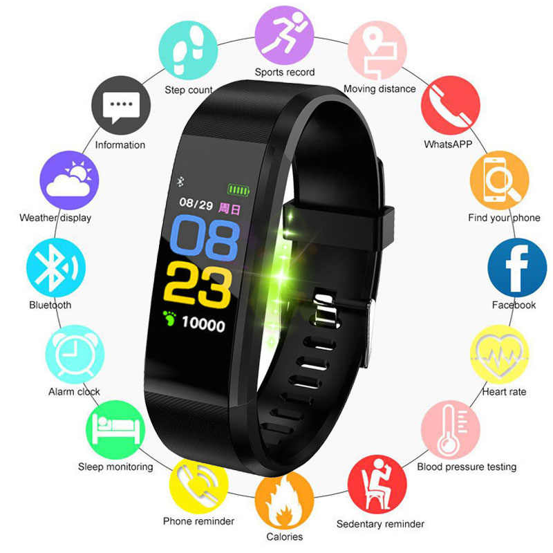 ID115plus Smart Band Blood Pressure Heart Rate Monitor Fitness Tracker Smart Watch Waterproof Bluetooth Wristband Smart Bracele