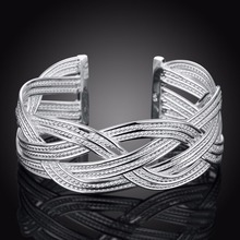 Women braided Bangle 925 Sterling Silver charms fashion width 23mm Big Weaved Bangles Bracelets B033 gift