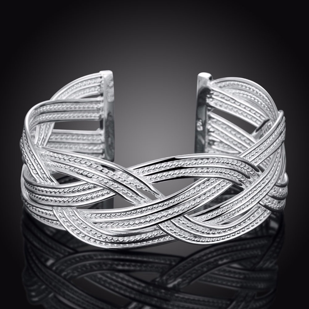 Women braided Bangle 925 Sterling Silver charms fashion width 23mm font b Big b font Weaved