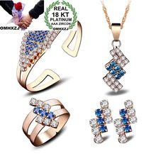 OMHXZJ Wholesale Personality OL Woman Geometric Zircon 18KT Shallow Yellow Stud Earrings+Ring+Necklace+Bracelet Jewelry Set SE15