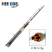 FISH KING 2 Section Carbon Spinning Fishing Rod Medium M power casting weight 3 12G 4 12LB Fast Travel Fishing Lure Rod 2.4m
