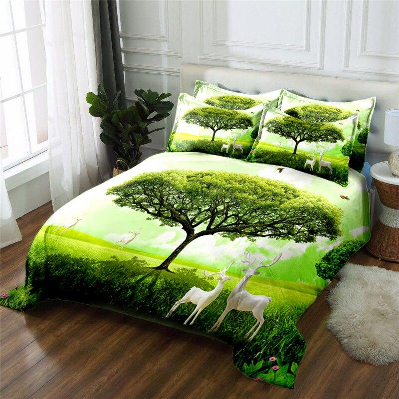 Новый продукт джунгли пейзаж 3D печатных 4 шт постельных принадлежностей из микрофибры постельное белье пододеяльник набор простыня - 2