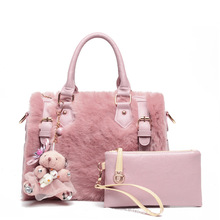 Women fur bag handbag new high grade designer brand bags leather fashion  tote bag women casual classic shoulder Messenger Bag
