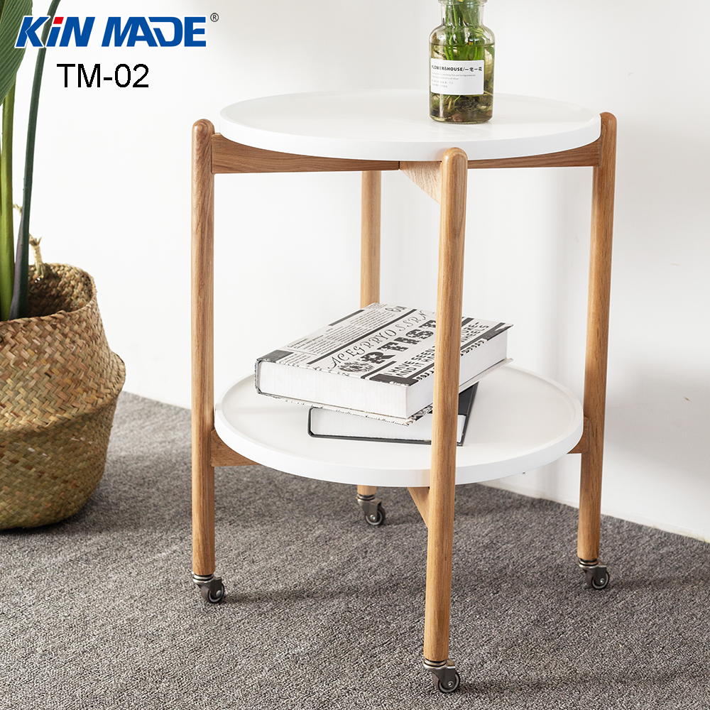 Kinmade Red Oak Removable End Table 2 Layers Dining Car Round Coffee Table Living Room Multi-Function Wheel Storage