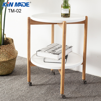Fine Kinmade Red Oak Removable End Table 2 Layers Dining Car Round Coffee Table Living Room Multi Function Wheel Storage Machost Co Dining Chair Design Ideas Machostcouk