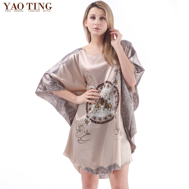 2016 half sleeve pajamas women sleepwear femme satin night dress female silk nightwear lady plus size nightgown print robe gown