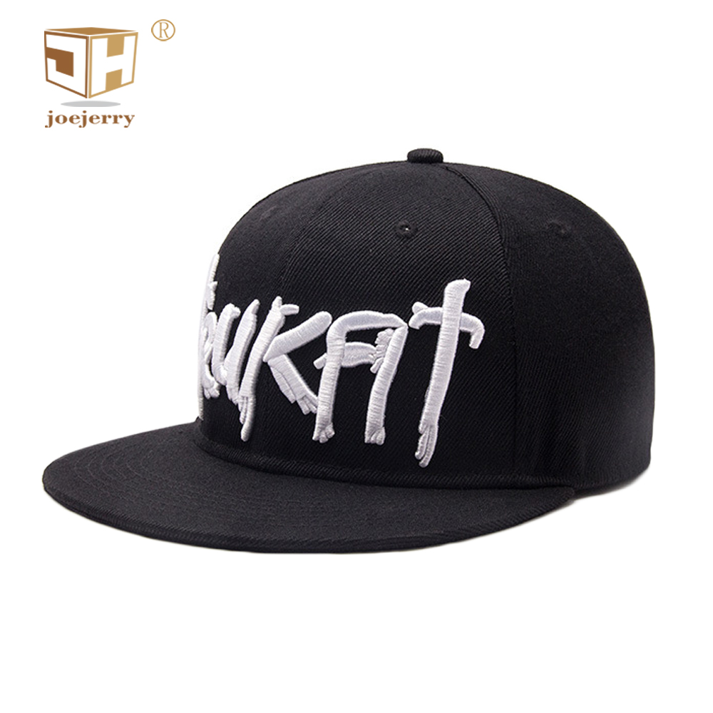 ba7cc751d1009 JOEJERRY 3D Embroidered Letter Baseball Cap Black Flat Cap Hip Hop 5 Panels  Cotton Snapback Hats