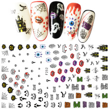 2 Sheets Skull Pumpkkin Halloween Nail Art Stickers Decorations 3d Adhesive Salon Beauty Wraps